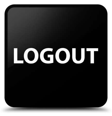 Logout isolated on black square button abstract illustration