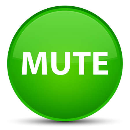 Mute isolated on special green round button abstract illustration