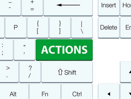 Actions isolated on green keyboard button abstract illustration