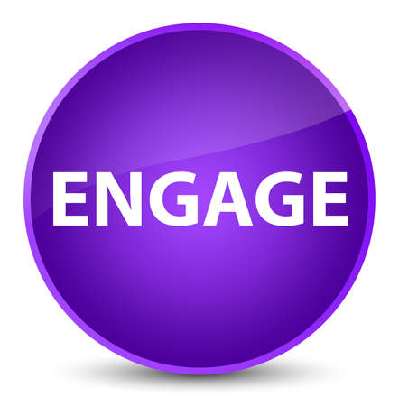 Engage isolated on elegant purple round button abstract illustration Banco de Imagens