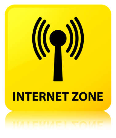 Internet zone (wlan network) isolated on yellow square button reflected abstract illustration Stock Photo