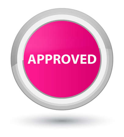 Approved isolated on prime pink round button abstract illustration Stock Photo