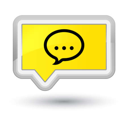 Talk icon isolated on prime yellow banner button abstract illustration
