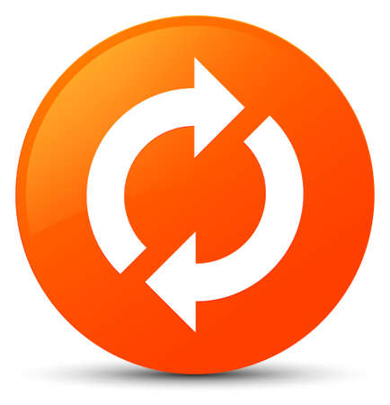 Update icon isolated on orange round button abstract illustration Stock Photo