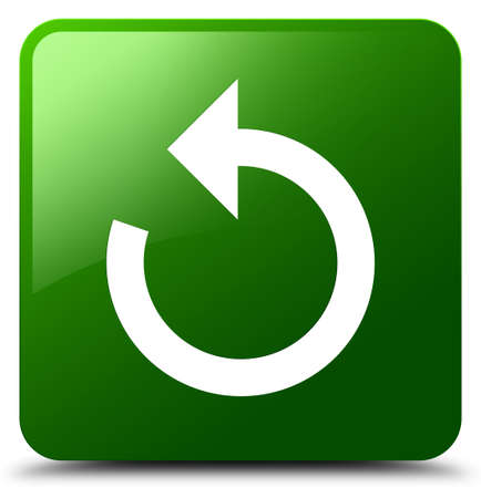 Refresh arrow icon isolated on green square button abstract illustration