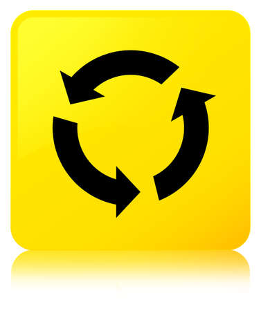 improving: Refresh icon isolated on yellow square button reflected abstract illustration