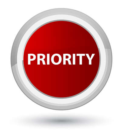 Priority isolated on prime red round button abstract illustration Фото со стока