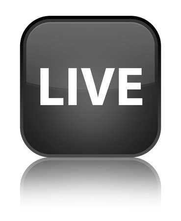 Live isolated on special black square button reflected abstract illustration Banco de Imagens