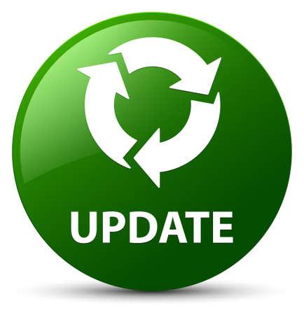 更新 (リフレッシュ アイコン) グリーン丸ボタンの抽象的なイラストに分離 写真素材