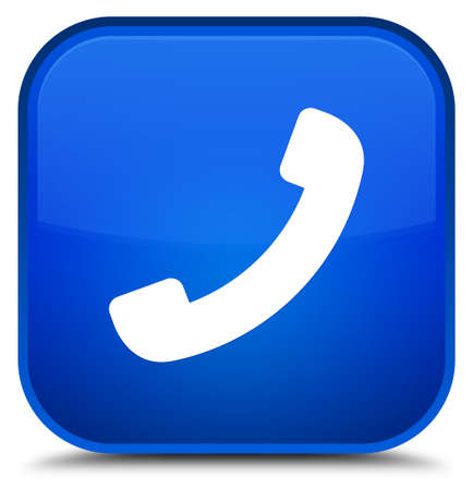 Phone icon isolated on special blue square button abstract illustration