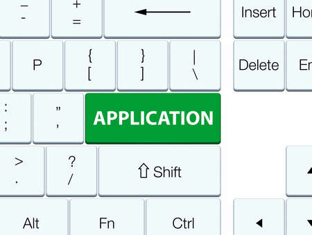 Application isolated on green keyboard button abstract illustration