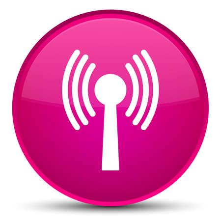 Icône de réseau WLAN isolé sur illustration abstraite spéciale bouton rond rose Banque d'images - 89599138