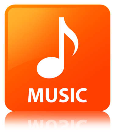 Music isolated on orange square button reflected abstract illustration Stock Photo