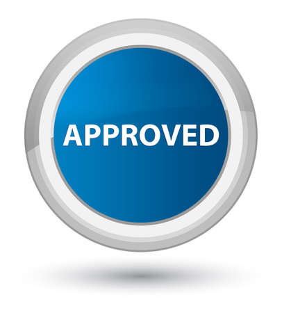 Approved isolated on prime blue round button abstract illustration