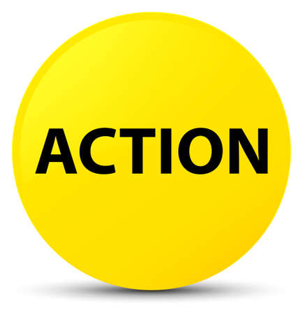 Action isolated on yellow round button abstract illustration