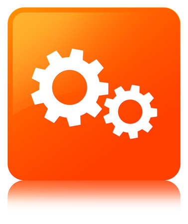 Process icon isolated on orange square button reflected abstract illustration