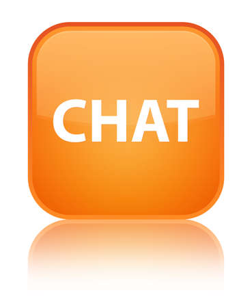Chat isolated on special orange square button reflected abstract illustration