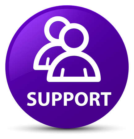 Support (group icon) isolated on purple round button abstract illustration Stock Photo