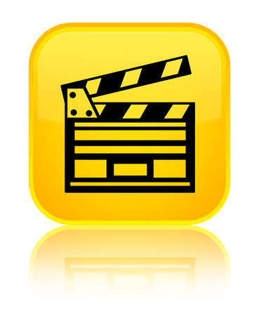 Cinema clip icon isolated on special yellow square button reflected abstract illustration
