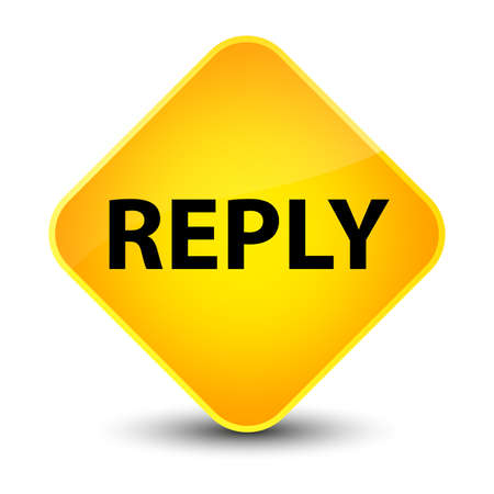 Reply isolated on elegant yellow diamond button abstract illustration Stok Fotoğraf - 89599554