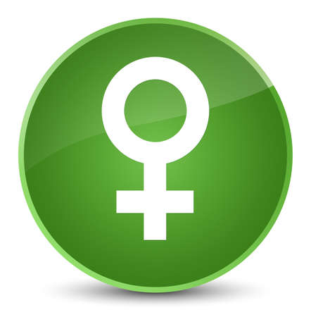Female sign icon isolated on elegant soft green round button abstract illustration