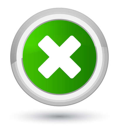 Cancel icon isolated on prime green round button abstract illustration Stock Photo