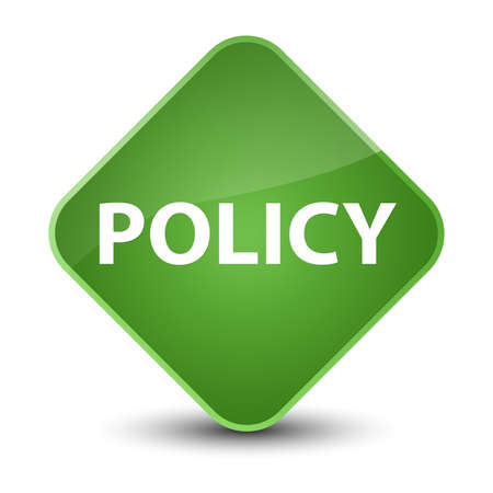 theories: Policy isolated on elegant soft green diamond button abstract illustration