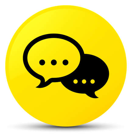 Talk bubble icon isolated on yellow round button abstract illustration