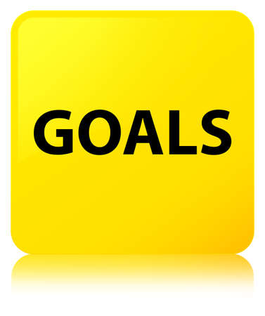 objetivo: Goals isolated on yellow square button reflected abstract illustration