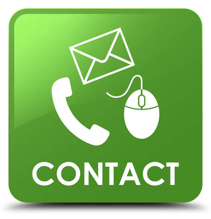 Contact (phone email and mouse icon) soft green isolated on square button abstract illustration