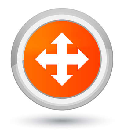Move icon isolated on prime orange round button abstract illustration