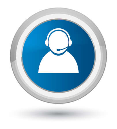 Customer care icon isolated on prime blue round button abstract illustration