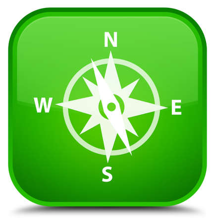 Compass icon isolated on special green square button abstract illustration
