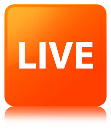 Live isolated on orange square button reflected abstract illustration