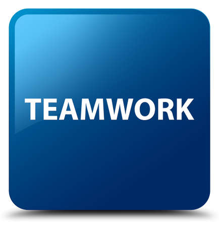 Teamwork isolated on blue square button abstract illustration