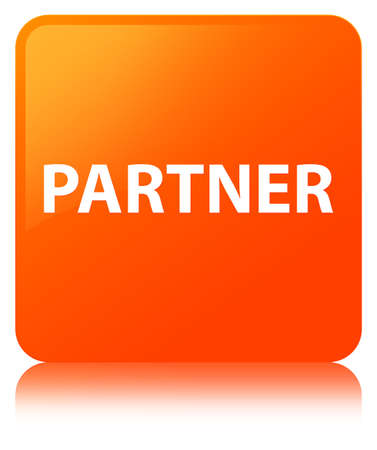 Partner isolated on orange square button reflected abstract illustration Stock Photo