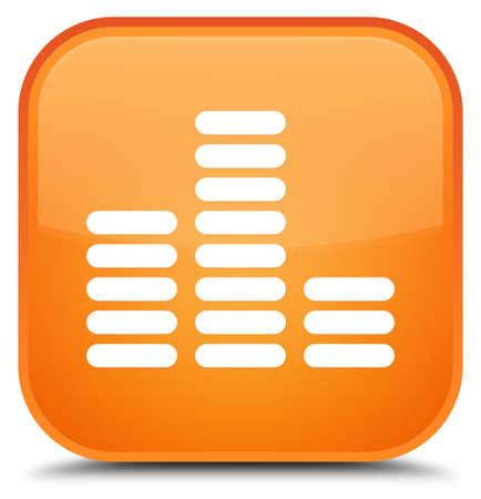 Equalizerpictogram op speciale oranje vierkante knoop abstracte illustratie die wordt geïsoleerd