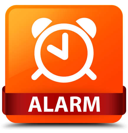 up time: Alarm isolated on orange square button with red ribbon in middle abstract illustration