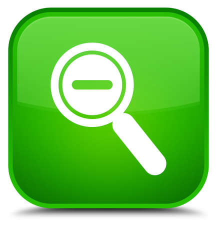 Zoom out icon isolated on special green square button abstract illustration