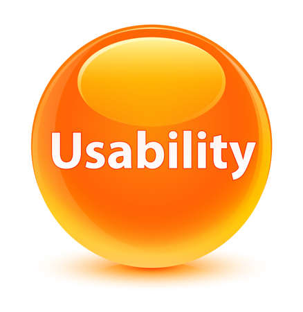 Usability isolated on glassy orange round button abstract illustration