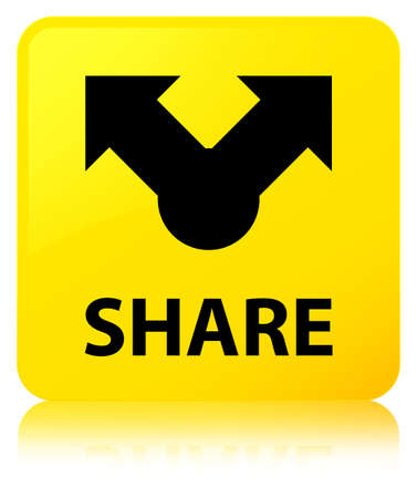 Share isolated on yellow square button reflected abstract illustration