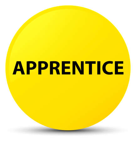novice: Apprentice isolated on yellow round button abstract illustration