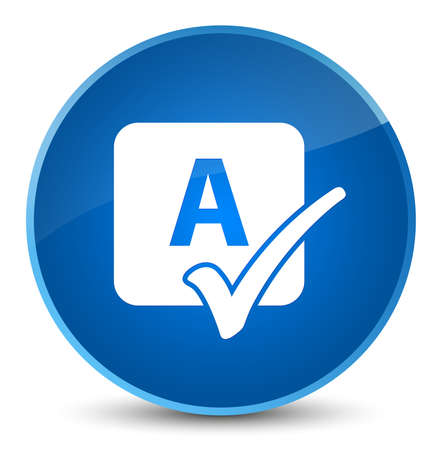 Spell check icon isolated on elegant blue round button abstract illustration