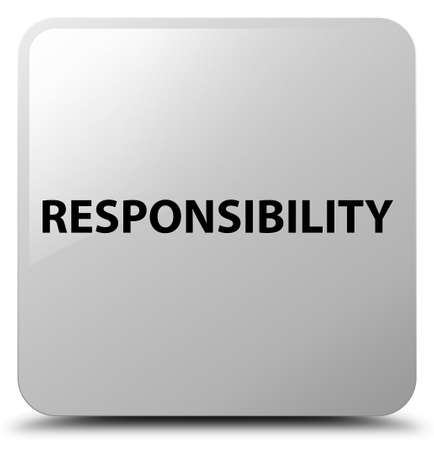 Responsibility isolated on white square button abstract illustration