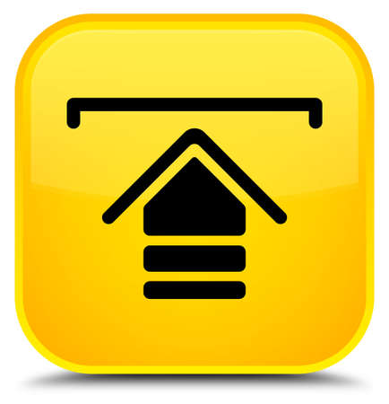 Upload icon isolated on special yellow square button abstract illustration