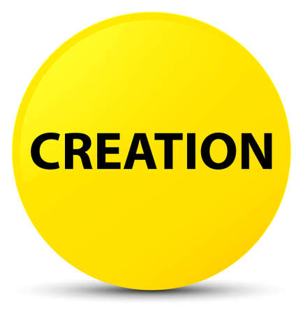 Creation isolated on yellow round button abstract illustration Stock Photo