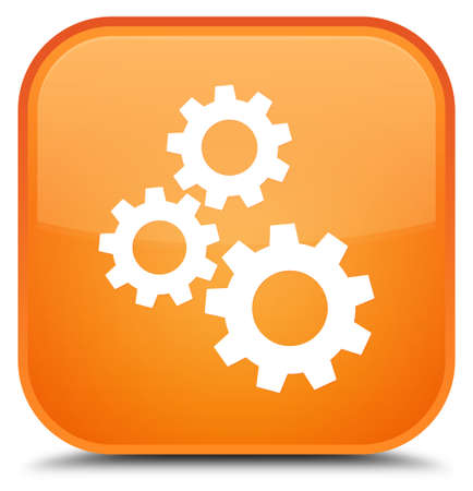 Gears icon isolated on special orange square button abstract illustration