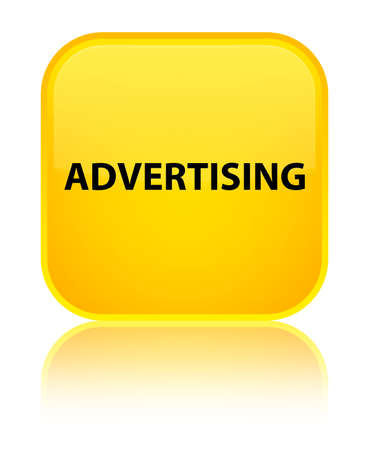 Advertising isolated on special yellow square button reflected abstract illustration