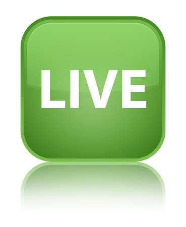 Live isolated on special soft green square button reflected abstract illustration