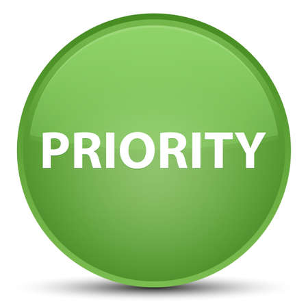 Priority isolated on special soft green round button abstract illustration